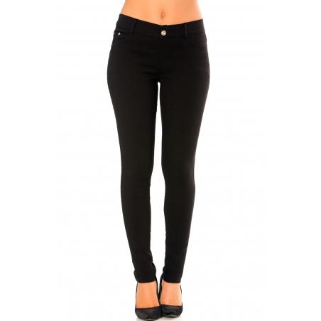 Pantalon slim noir en grande taille , basic avec poches avant et arrière