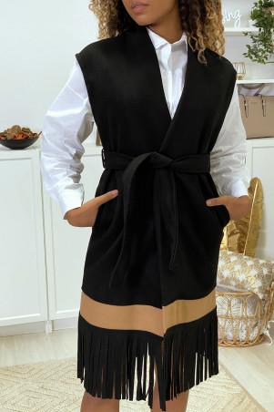 Black sleeveless jacket with fringe and camel band