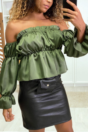 Water green satin bustier with separate sleeves
