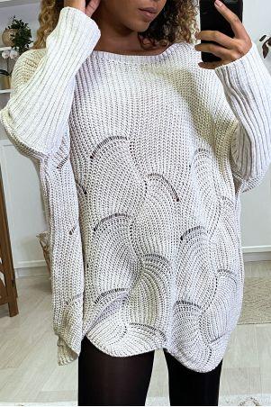 Pink oversized leaf pattern sweater