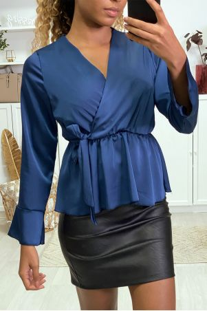 Satin wrap blouse in navy with ruffles on the sleeves