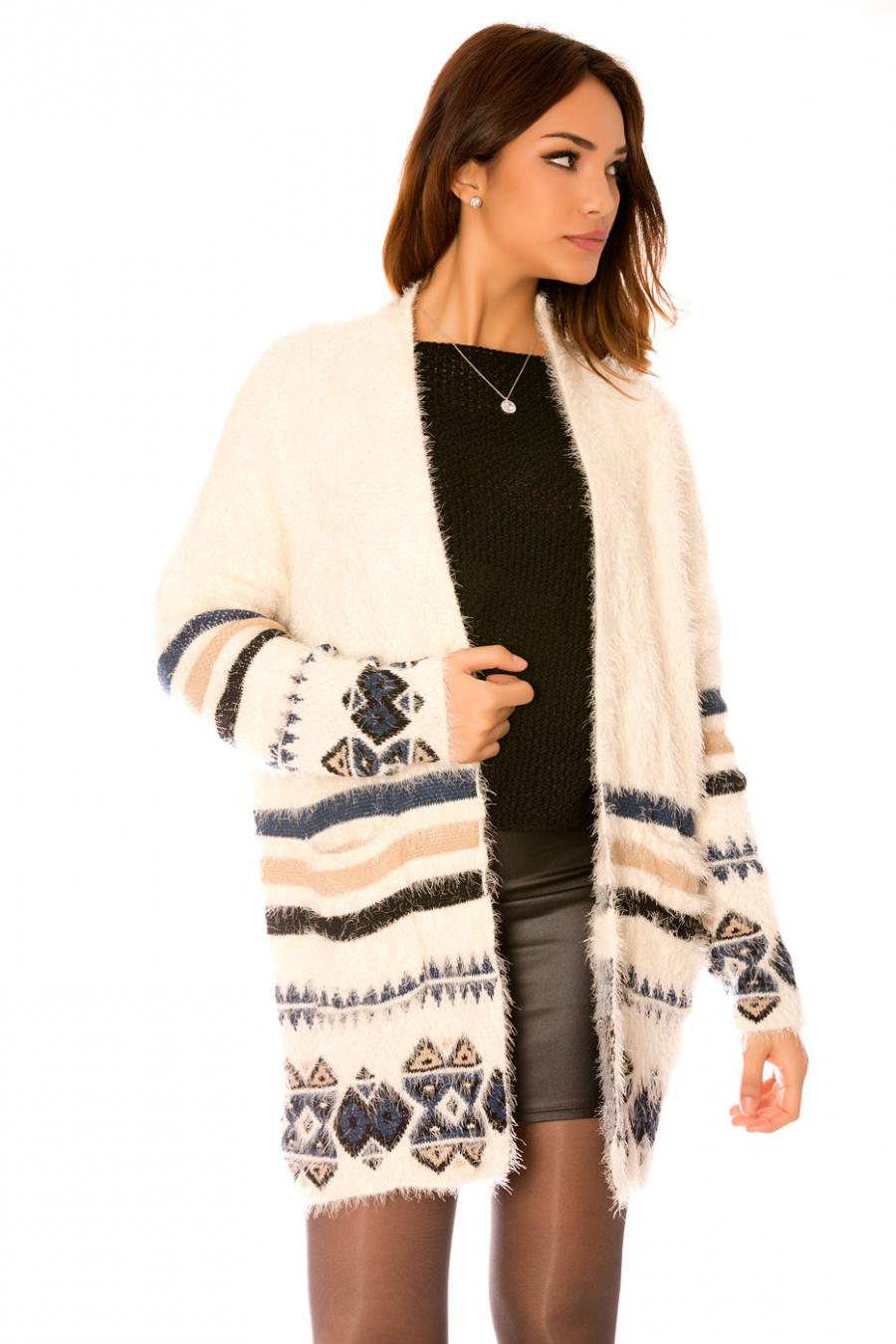 Long beige fluffy waistcoat with blue Aztec pattern. F7773