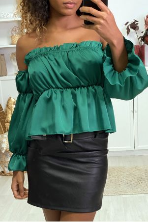 Green satin bustier with separate sleeves