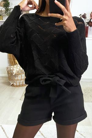 Short noir en molleton avec ceinture et poches