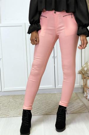Roze stretch slim broek met ritssluiting en steekzakken